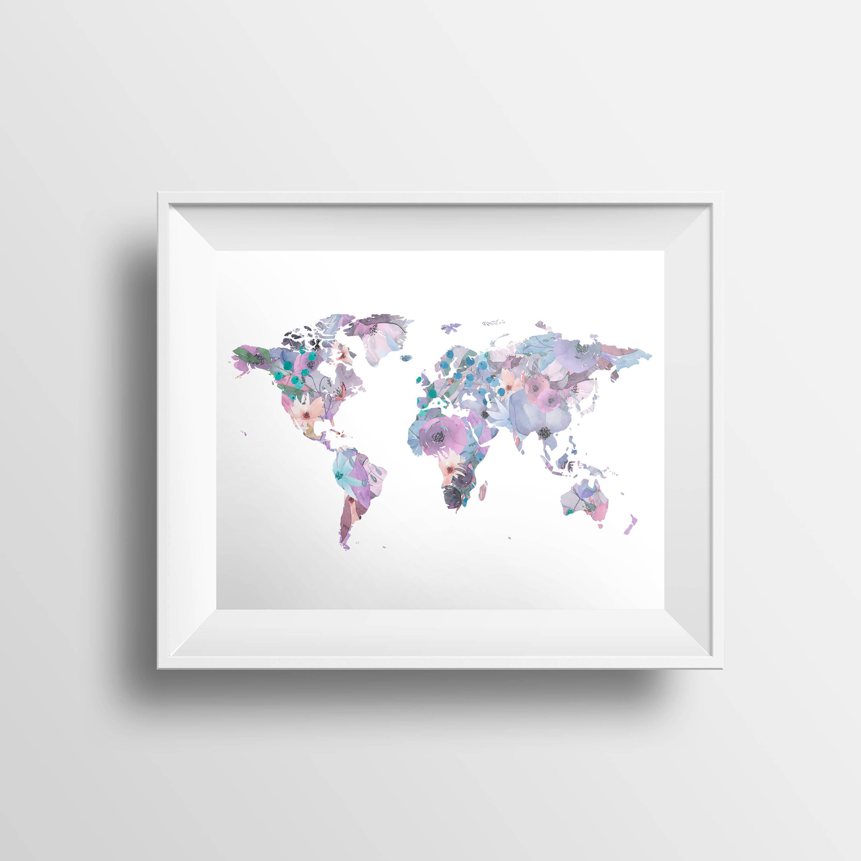 Weltkarte-Druck Aquarell Karte Kindergarten Druck Aquarell   Etsy