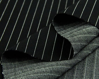 Black and white stripe thick fabric, polyester cotton fabric pants fabric two-way stretch fabric - 160 cm wide x 50 cm - fa