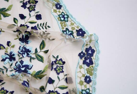 Tissu filet beige avec tissu fleuri bleu brodé, mariée mariée brodé, dentelle, tissu rideaux, tissu de dentelle de mariage - FSZJ-à l'échelle 1 / 2m - 47