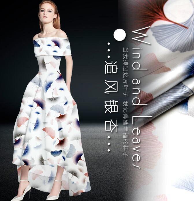 Pour Pour Pour 4 yards-Silk fabric, tissu imprimé de style feuille de ginkgo, tissu de soie blanc, stretch satin tissu-135 cm de large 21590e