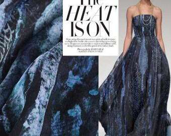 "Navy blue Silk chiffon fabric, Printed silk fabric with navy blue stripes,,Maxi skirt fabric, Bridal fabric, by 1m-FSJN-53""( 135 cm)Wide"