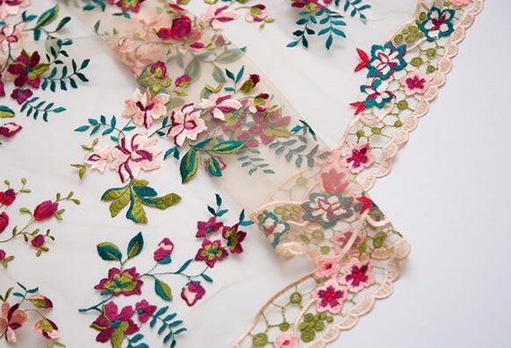 Cream-White Net Fabric With Red Pink Embroidered Floral