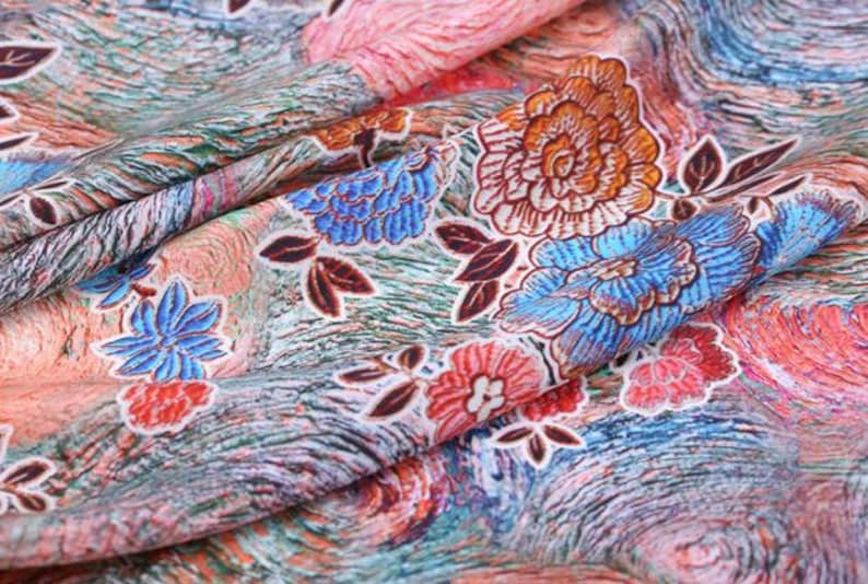 114 cm for wedding silk dress fabric -FXY-45 Wide 100/% Flower silk crepe fabric with color flower pattern 16mm