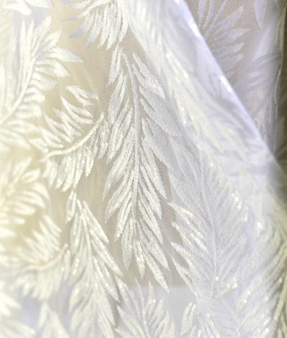 Tissu de dentelle maille blanc cassé avec broderie Style de Style broderie feuilles de paillettes maille du tissu, pour mariage, de 1m - 51
