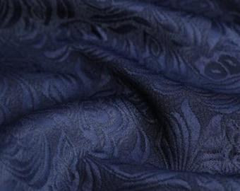High quality jacquard fabric, navy blue color jacquard fabric, wedding jaquard fabric, by the yard