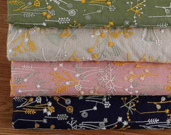 4 Color  cotton linen fabric, embroidered plant style fabric, diy fabric, by the yard