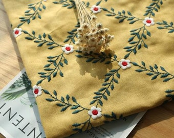 Cotton linen fabric with embroidered flower, yellow color cotton linen fabric, by the yard