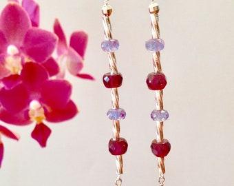 Hot Toddy Earrings / Sterling silver earrings / Long dangling earrings / Gemstone Earrings / Garnet Earrings / Amethyst Earrings
