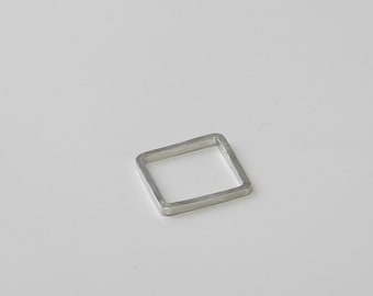SQUARE Solid sterling silver hand-forged minimalist ring