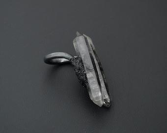 Tibetische schwarze phantom Quarz & schwarzer Turmalin Ecrusted oxidiertem Sterlingsilber Aussage ring-Größe 6,5
