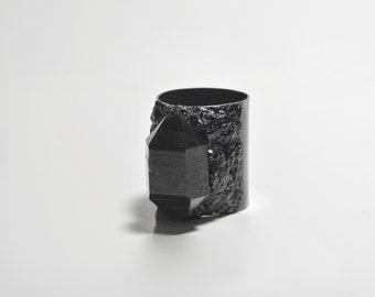 Tibetan black phantom quartz encrusted with black tourmaline on oxidized sterling silver size 9 statement ring