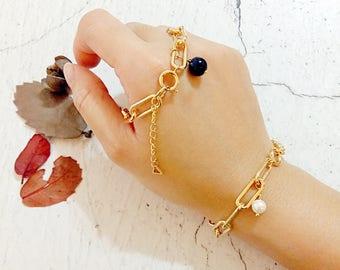 Sweet Encounter Collection | Personalize Chain Bracelet, Shell Pearl Bead Bracelet, Bridesmaid Bracelet, Friendship Bracelet, Gift For Her