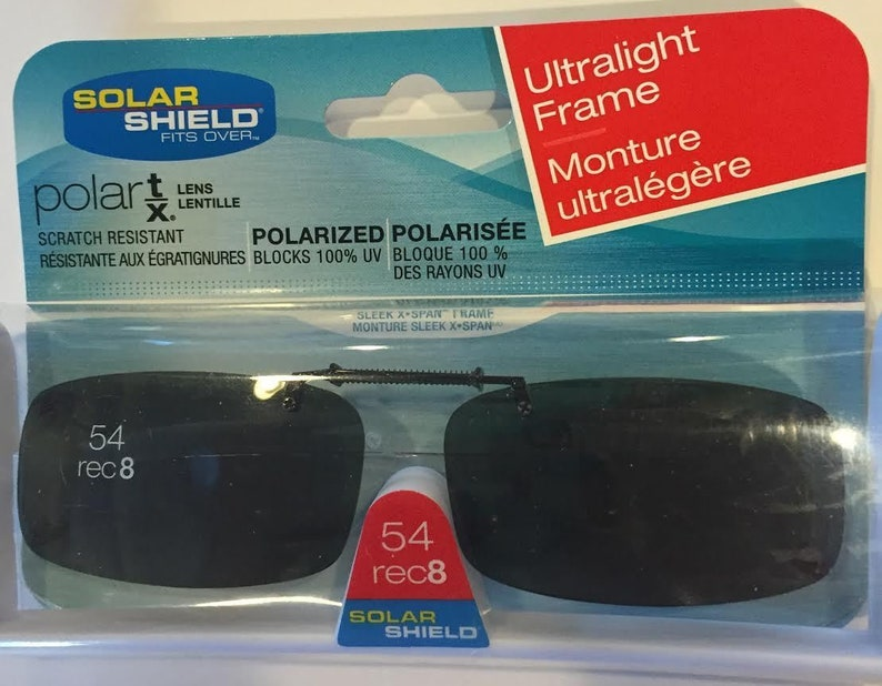 9815517b44 Solar Shield 54 rec 8 lens Clip on Sunglasses 100% UVA UV