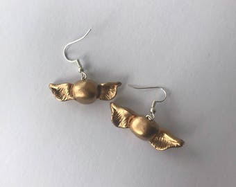 Golden snitch earings