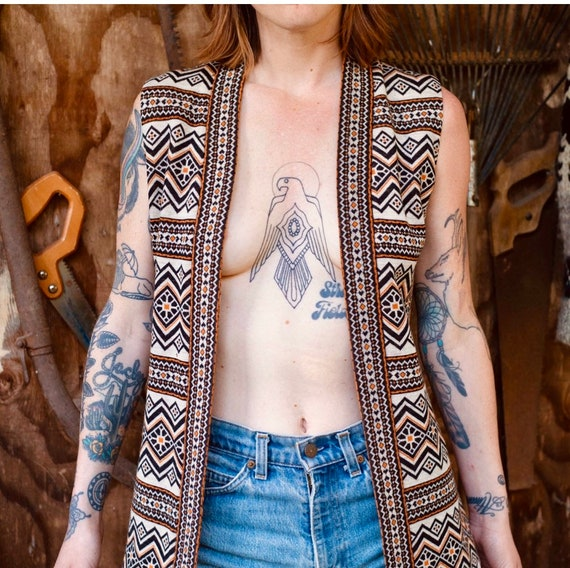 60's Psychedelic long pattered vest, tunic, women'