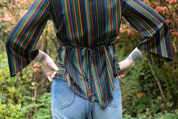 Cosmic 1970's disco rainbow polyester blouse