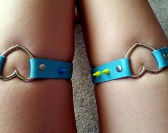 Summer Goth spiked leg harness garter belt