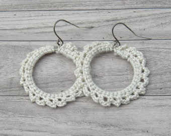Large Hand Crocheted Earrings