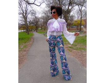 New! African Print Pants, Ankara Pants, Womens Bell Bottom Pants, Rio Claro Bell Bottom Pants