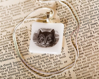 Lewis Carroll fused glass necklace pendant (Cheshire Cat) Gift Present