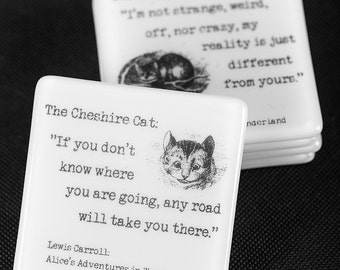 Fused Glass Coaster 'The Cheshire Cat' (Alice's Adventures in Wonderland by Lewis Carroll).