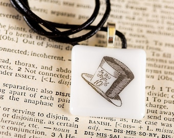 Lewis Carroll fused glass necklace pendant (Mad Hatter) Gift Present
