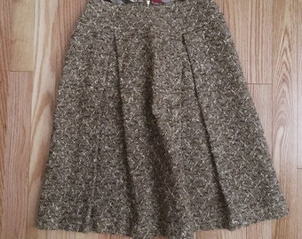 Vintage 1960s A-line brown tweed skirt sz small
