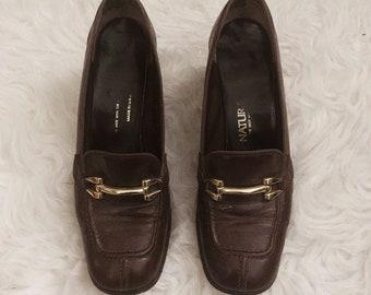 Vintage 1960s brown leather heels sz 6