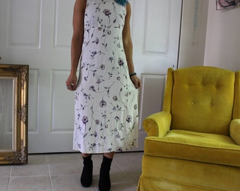 90s Floral Empire-Waist Midi Dress sz Small