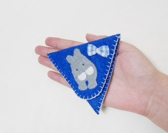 Felt purse hippopotamus bow