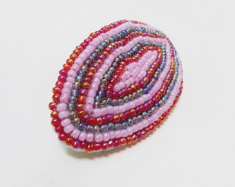 Beaded french clip, Beadwork barrette, Pink beads