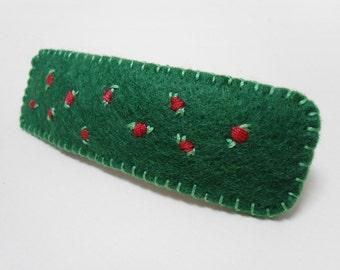 Felt hair clip, Green french clip