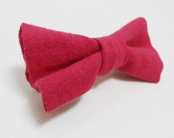 Red hair bow clip, Fabric bow barrette, Hair bow tie