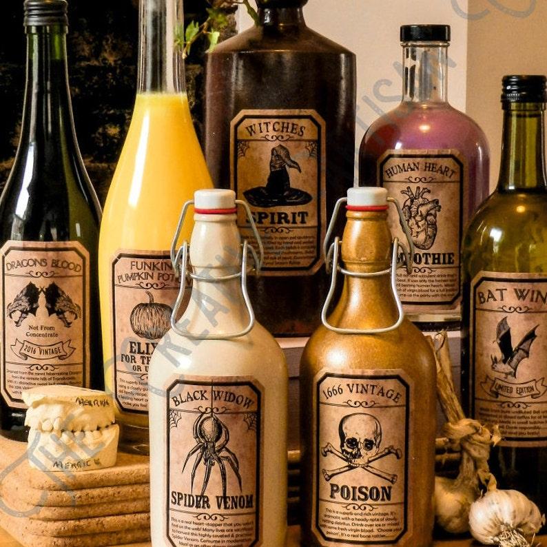 Set Of 7 Unique Handmade Funny & Spooky Vintage Halloween drink bottle labels