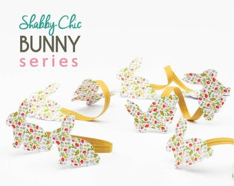 10 Handmade Shabby Chic Bunny Rabbit Easter Twist Ties//Party Favours//Christening//Baby Shower//Birthday//Party Decoration//Kraft Twist Tie