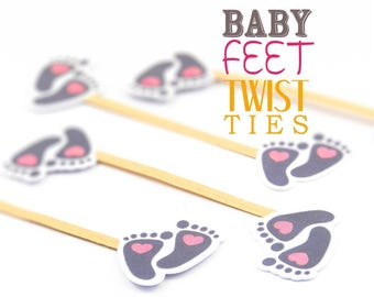10 Handmade Pink Heart Baby Feet Twist Ties//Party Favours//Christening//Baby Shower//Birthday//Party Decoration//Kraft Twist Tie