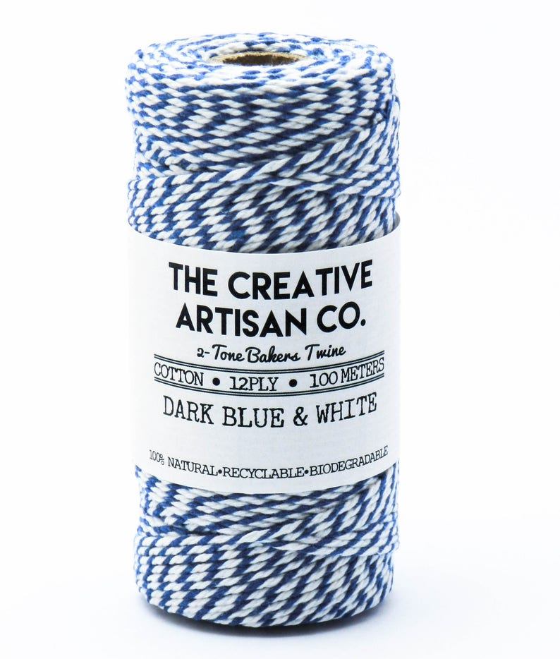 Dark Blue /& White 12 Ply 2 Tone Bakers TwineStringCordCotton5 Meters10 Meters20 MetersGift WrapDIYDecorationCrafts