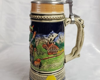 Vintage musical beer stein DBGM with music box Jagers Abschied 1960s Earthenware beer mug Edelweiss Vintage German beer mug with music