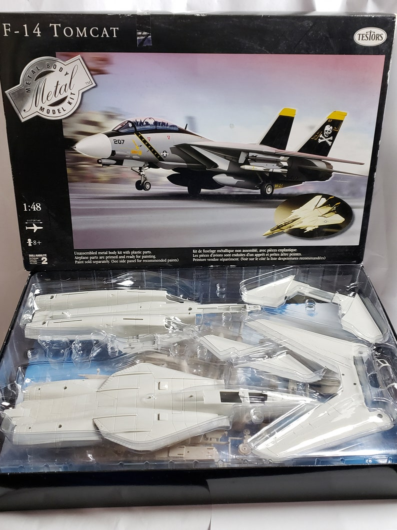 F 14 Tomcat Metal Body Model Kit Military Jet Plane By Testors Etsy