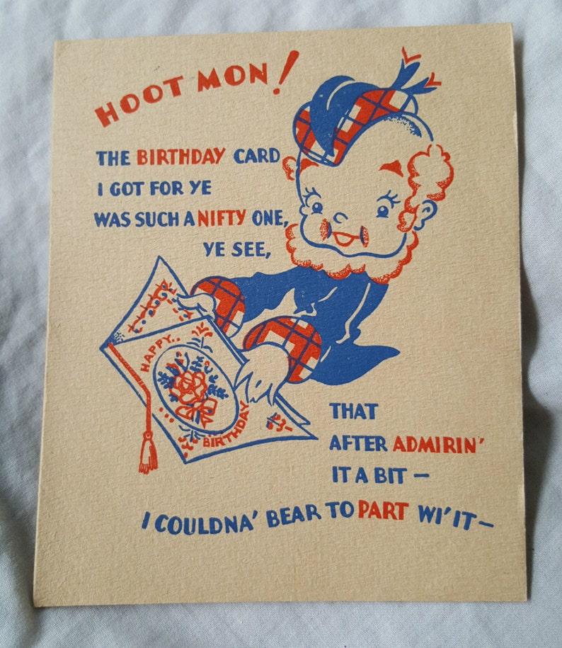 Vintage Birthday Card On Towel Themed Funny Humor Scottish