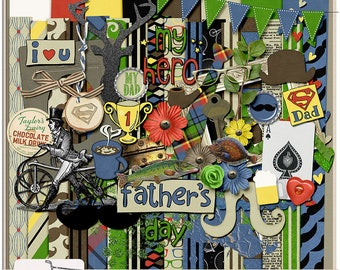 Number One Dad Father's Day Hipster Mustache Digital Scrapbook Kit