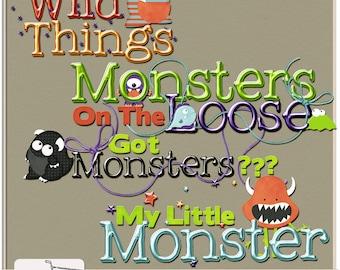 My Little Monster Digital Scrapbook Word Art