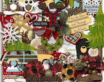 Through The Woods Buffalo Check Winter Digital Scrapbook Kit