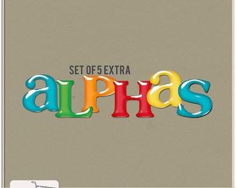 Let's Celebrate Birthday Party Digital Scrapbook Extra Alphas