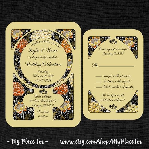 Deco,Morris Invitation,Gatsby ART NOUVEAU WEDDING Invitation,Floral Nouveau Invitation,Art Nouveau Invitation,Deco Invitation,Nouveau