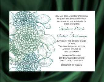 Zinnia Flower Wedding Invitation & RSVP  - Floral  Wedding Invitation and RSVP - Zinnia Wedding Invitation- Design 12