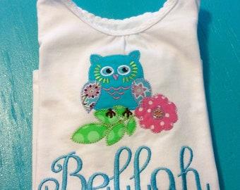 Pretty little owl appliqued shirt