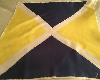 Bold Vintage Vera Scarf Navy Yellow Square Fab!
