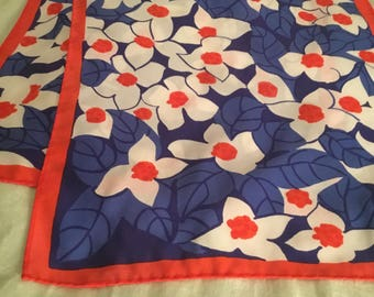 Lovely Vintage Vera Scarf Long Red White Blue Flowers