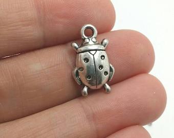 10 Ladybug Charms, Silver Ladybug Charms, Insect Charms, Garden Charms (1-1057)